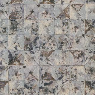 Vlies Tapete Beton Mosaik Fliesen Kacheln grau blau silber rost braun metallic