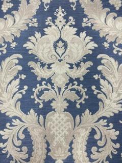 Hochwertige Vliestapete Barock Ornament Stickoptik blau beige glänzend 1007-9