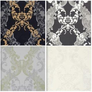 Vlies Tapete Barock Muster Ornament metallic grau silber weiss BN Ornamentals