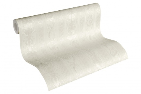 Luxus Vliestapete Ranken Streifen Optik creme weiß glanz 33547-1 Hermitage