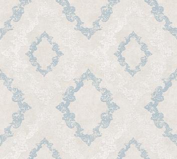 Vlies Tapete Barock Ornament Glitzer pastell grau blau weiß 32989-3