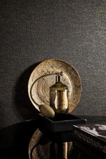 Vlies Tapete Uni Struktur dunkel braun schwarz gold Loft