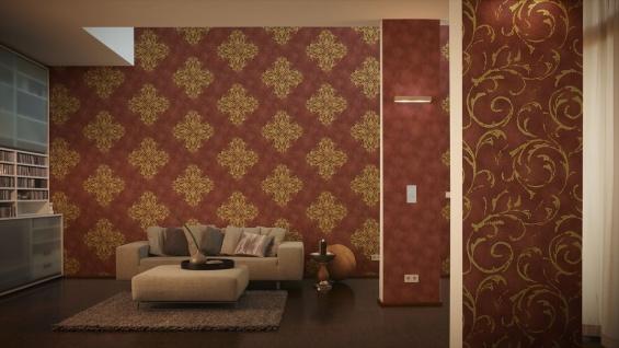 Vliestapete Barock Muster Ornament rot gold metallic Großrolle 10, 65 m² / Rolle