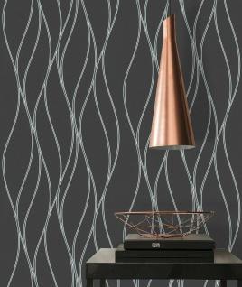 Vlies Tapete Linien Wellen schwarz silber metallic Trendwall 3713-24 / 371324