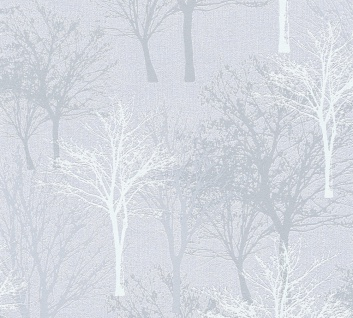 Vlies Tapete Baum Bäume Natur hellgrau blau glanz 36147-1 Elegance - 5th Avenue