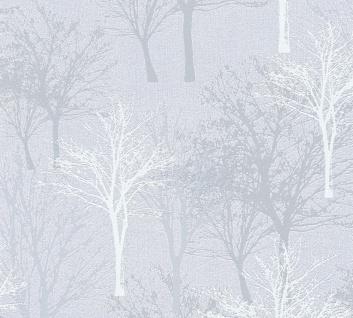Vlies Tapete Baum Bäume Natur hellgrau blau glanz 36147-3 Elegance - 5th Avenue