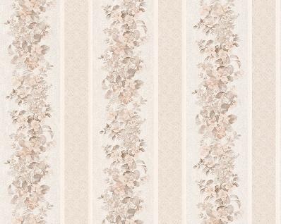 Vinyl Tapete Streifen Floral Blumen Muster creme beige landhaus 95929-2 blümchen