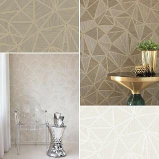 Vliestapete geometrisch metallische Linien creme silber gold braun Großrolle