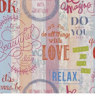 Papier Tapete Holz Optik beschriftet rosa beige blau 05590-10 Relax Love Jugend