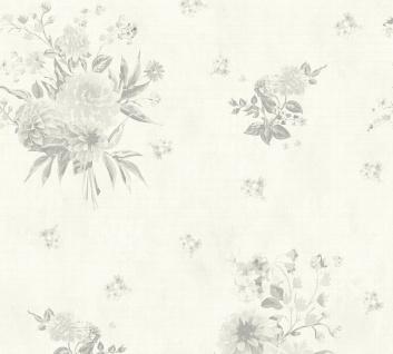 Vlies Tapete Blumen Karo Muster grafisch creme grau 35873-4 Djooz 2