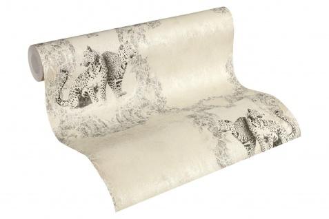 Luxus Vliestapete Barock Leoparden creme grau silber Ornamente klassisch 33543-1