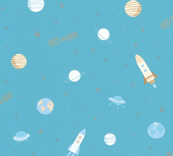 Esprit Kids 5 Weltraum Tapete blau beige metallic Raumschiff Rakete Erde 35828-2