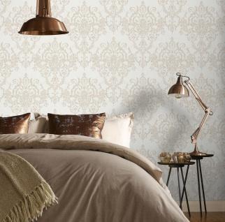 Viktorianische Barock Vlies Tapete Damask creme beige weiß gold metallic 104965
