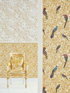 Versace 4 Vlies Tapete kleine Blumen Floral weiß gelb gold metallic 935855