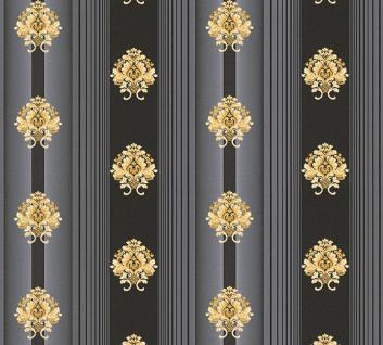 Luxus Vlies Tapete Streifen Barock Muster Ornament schwarz gold metallic 330846 - Vorschau 2