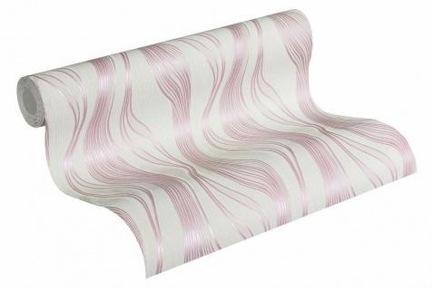 Vliestapete Struktur Linien weiß rosa rose metallic Trendwall 3714-09 / 371409