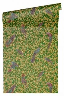 Versace 4 Vlies Tapete Ranken Ornament Papageien grün gold lila metallic 370533
