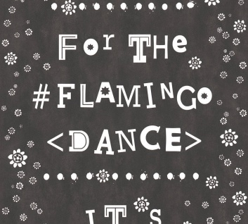 Vlies Tapete Blümchen Flamingo Dance Schrift schwarz weiß Cozz 36293-1