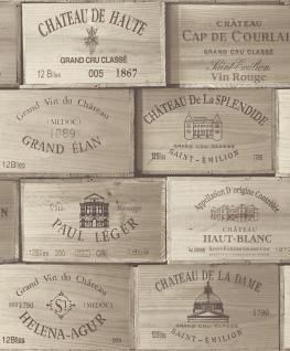 Vlies Tapete Wein Kisten Muster grau Holz decor PE-11-02-0 wine box