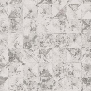 Vlies Tapete Beton Mosaik Fliesen Kacheln weiß grau metallic used look