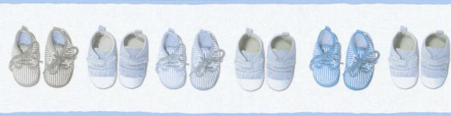 Kinder Tapeten Bordüre Baby Schüchen Schuhe weiß blau 35864-2 Little Stars