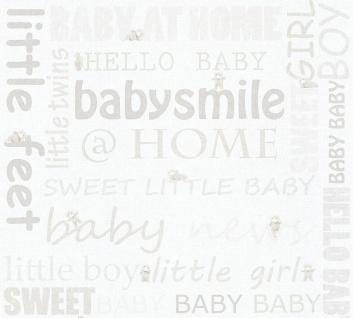 Kinder Tapete Schriftzug Baby Smile Home Teddy weiß creme 35847-1 boy girl