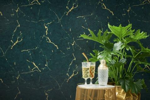 Vliestapete Marmor Optik Stein Naturstein grün gold metallic 37855-5