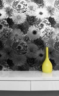 Florale Blumen Tapete schwarz silber metallic glanz gebürstete Stahl Optik