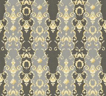 Vlies Tapete Ranken Barock Ornament schwarz gold grau glanz 34392-6 Chateau 5