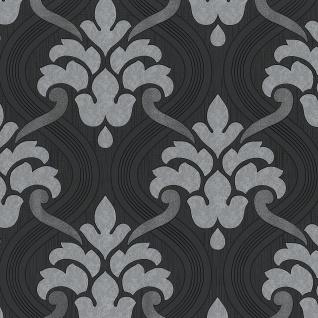 Vlies Tapete Barock Muster Ornament schwarz grau silber metallic glitzer