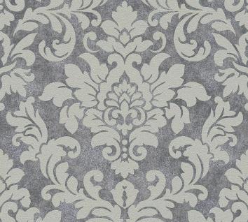 Barock Ornament Vlies Tapete anthrazit grau Glitzer Trendwall 37270-1 / 372701