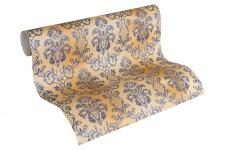 Luxus Vlies Tapete Barock Muster Ornament beige gold blau grau metallic 335454