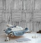 Vlies Foto Tapete Wandbild Holzbalken verwittert grau 200x300cm holztapete