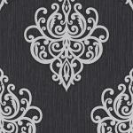 Edle Vliestapete Barock Ornament schwarz silber metallic glitzer 02491-10