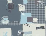 Vinyl Küchen Tapete blau weiß creme Coffee Kaffeetassen 30089-1 kaffee kitchen