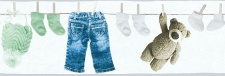 Kinder Tapeten Bordüre Wäscheleine Teddy Kleidung weiß mint blau 35846-2