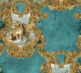 Luxus Vlies Tapete Barock Leoparden petrol türkis gold metallic klassisch 335435
