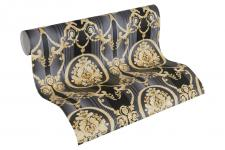Luxus Vlies Tapete Barock Muster Ornament schwarz gold metallic 330836 streifen