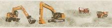 Kinder Tapeten Bordüre Baustelle Bagger Kran LKW beige orange 35871-2