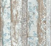 Landhaus Vliestapete Holz Blumen weiß blau braun Vintage 36119-1 Neue Bude 2.0