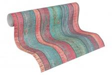 Vlies Tapete Antik Holz rustikal türkis blau rot bretter verwittert 31993-1