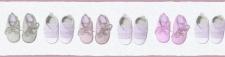 Kinder Tapeten Bordüre Baby Schüchen Schuhe weiß rosa flieder 35864-1