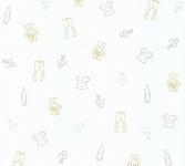 Kinder Vliestapete Teddy Bär Kleidung Schnuller weiß creme 35845-2