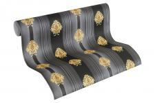 Luxus Vlies Tapete Streifen Barock Muster Ornament schwarz gold metallic 330846