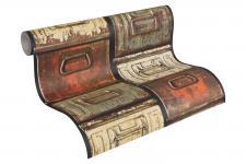 Prägetapete Stahlkisten Metall Schubkästen Vintage terra rot beige braun 30220-1