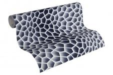 Vliestapete Retro 3D Wellen Muster grau Waben Design by Mac Stopa 32709-4