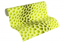 Vliestapete Retro 3D Wellen Muster neon grün Waben Design by Mac Stopa 32709-1