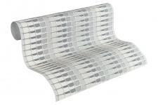 Vliestapete Retro 3D Mosaik Streifen creme grau Design by Mac Stopa 32727-4