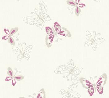 Vlies Tapete Schmetterlinge Uni Kombi Creme Weiss Rosa Flieder Girls