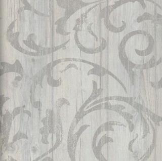 Vlies Tapete Antik Holz rustikal Ornament Muster Barock grau beige ...